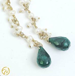 Cascade Pearl with Faceted Emerald Drop Earrings from Faith Marcus Designs